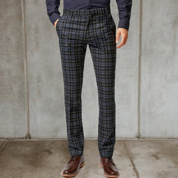Men's temperament casual plaid trousers