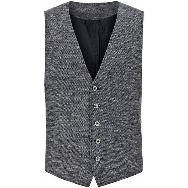 Casual V-Neck Single-breasted Sleeveless Pure Color Vest
