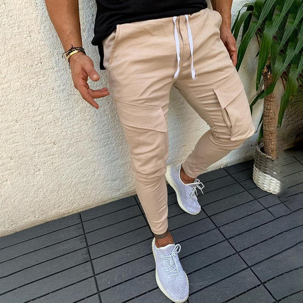Men's Casual Drawstring High Waist Slim Pants