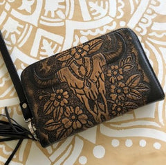 Boho hand carved purse