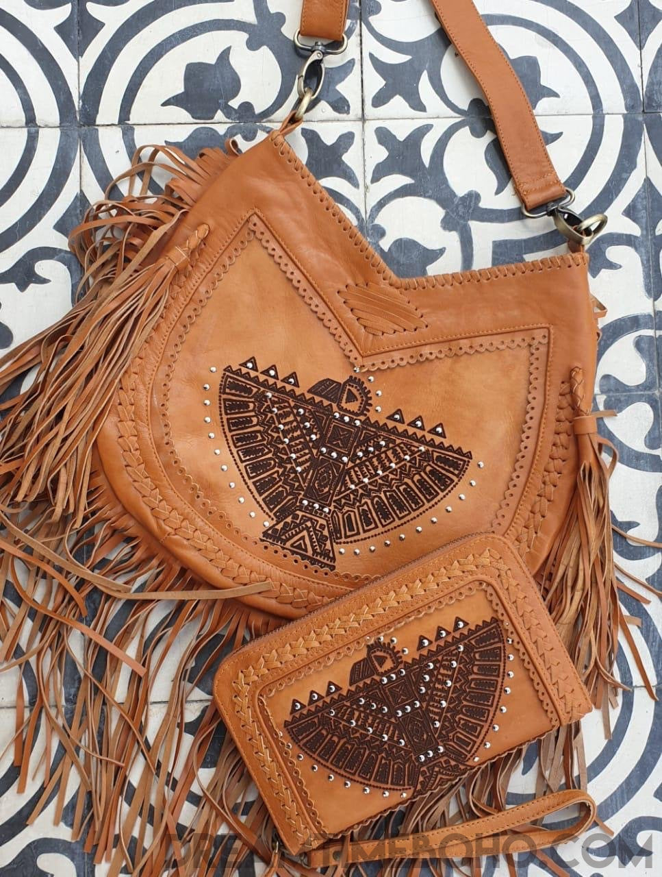 AZTEC EAGLE FRINGED LEATHER BOHO BAG-Boho Fringe Bag-Dreamtime Boho-AZTEC EAGLE BAG-Dreamtime Boho