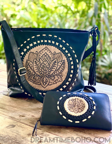 HAND TOOLED LEATHER LOTUS CROSS BODY BOHO BAG-Leather Crossbody Bag-Dreamtime Boho-Dreamtime Boho