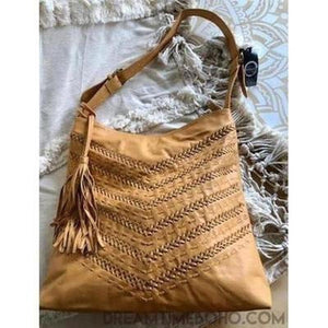 AZALEA HAND WEAVED LEATHER TOTE SHOPPER BAG-Tote Bags-Dreamtime Boho -Tan-Dreamtime Boho