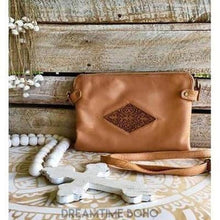 Load image into Gallery viewer, CHANTILLY LEATHER BOHO CLUTCH/SHOULDERBAG-Clutch/Purse-Dreamtime Boho-Blush-Dreamtime Boho