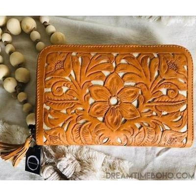 MAYA WOMENS LEATHER HAND CARVED BOHO WALLET PURSE-Leather Wallet-Dreamtime Boho-Dreamtime Boho