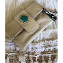Load image into Gallery viewer, FOLD OVER LEATHER STONE CLUTCH/PURSE - 3 COLOURS-Clutch/Purse-Dreamtime Boho-Natural-Dreamtime Boho