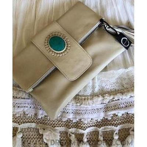 FOLD OVER LEATHER STONE CLUTCH/PURSE - 3 COLOURS-Clutch/Purse-Dreamtime Boho-Natural-Dreamtime Boho