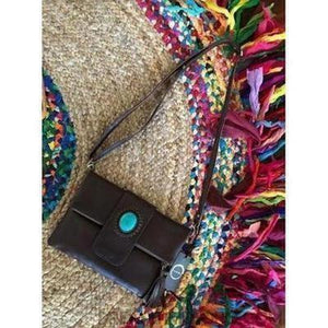 FOLD OVER LEATHER STONE CLUTCH/PURSE - 3 COLOURS-Clutch/Purse-Dreamtime Boho-Chocolate-Dreamtime Boho