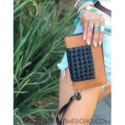 XANTHE WOMENS LEATHER BOHO WALLET PURSE-Leather Wallet-Dreamtime Boho-Black-Dreamtime Boho