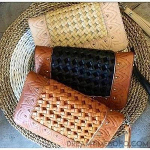 """XANTHE"" LEATHER BOHO WALLET -3 COLOURS-Leather Wallet-Dreamtime Boho-Black-Dreamtime Boho"