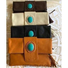 Load image into Gallery viewer, FOLD OVER LEATHER STONE CLUTCH/PURSE - 3 COLOURS-Clutch/Purse-Dreamtime Boho-Black-Dreamtime Boho