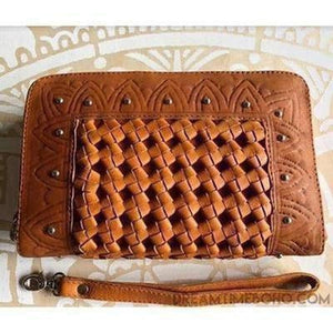 XANTHE WOMENS LEATHER BOHO WALLET PURSE-Leather Wallet-Dreamtime Boho-Brown-Dreamtime Boho