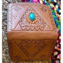 Load image into Gallery viewer, LIBERTY LEATHER WALLET HAND CARVED WITH STONE FEATURE BOHO WALLET-Leather Wallet-Dreamtime Boho -BROWN-Dreamtime Boho