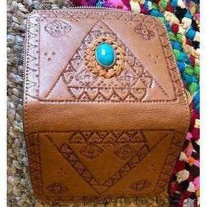 LIBERTY LEATHER WALLET HANDCARVED WITH STONE FEATURE-Leather Wallet-Dreamtime Boho -BROWN-Dreamtime Boho