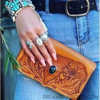 EMILEE HAND CARVED LEATHER BOHO WALLET PURSE-Leather Wallet-Dreamtime Boho-Dreamtime Boho