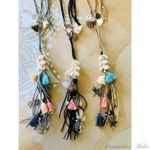 "Load image into Gallery viewer, BOHEMIAN TASSEL/SHELL ""KATIE"" NECKLACE-Bohemian Necklace-Dreamtime Boho-Black-Dreamtime Boho"