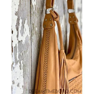ARLO WOMENS HAND WEAVED LEATHER BOHO HANDBAG-Crossbody Bag-Dreamtime Boho-Tan-Dreamtime Boho