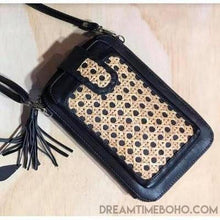 Load image into Gallery viewer, LEATHER FESTIVAL BAG WALLET/PHONE POUCH BOHO WALLET-Leather Wallet-Dreamtime Boho-Black Ratton-Dreamtime Boho