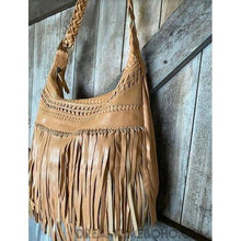 Load image into Gallery viewer, BROOKLYN LEATHER FRINGED CROSSBODY BOHO BAG-Boho Fringe Bag-Dreamtime Boho-TAN-Dreamtime Boho