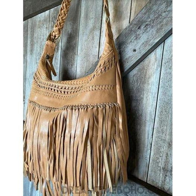 BROOKLYN LEATHER FRINGED CROSSBODY BOHO BAG-Boho Fringe Bag-Dreamtime Boho-TAN-Dreamtime Boho