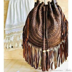 """GYPSY WEAVE"" LEATHER FRINGED BAG - DISTRESSED BROWN-Fringed Bag-Dreamtime Boho-Dreamtime Boho"