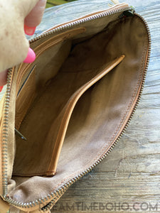 LEATHER BUFFALO CLUTCH PURSE CROSSBODY BOHO BAG-Clutch/Purse-Dreamtime Boho-BROWN-Dreamtime Boho