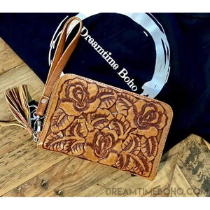HAND CARVED LEATHER ROSE WALLET PURSE-Leather Wallet-Dreamtime Boho-Dreamtime Boho