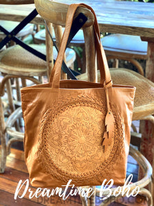 HAND TOOLED BROWN LEATHER TOTE SHOULDER BAG-Leather Tote Bag-Dreamtime Boho-Dreamtime Boho