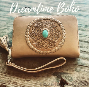 TAN LEATHER HAND TOOLED WALLET PURSE WITH TURQUOISE STONE-Dreamtime Boho -Dreamtime Boho