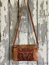 Load image into Gallery viewer, LEATHER BUFFALO CLUTCH PURSE CROSSBODY BOHO BAG-Clutch/Purse-Dreamtime Boho-BROWN-Dreamtime Boho