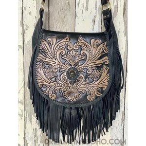 SHAYLEE HAND CARVED CROSSBODY FRINGED LEATHER BOHO BAG-Boho Fringe Bag-Dreamtime Boho -Dreamtime Boho