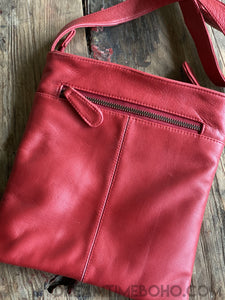 LEATHER CROSS BODY BELLA BAG-Crossbody Bag-Dreamtime Boho-RED-Dreamtime Boho