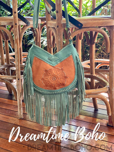 SKY DANCER HAND TOOLED FRINGED LEATHER BOHO BAG-Boho Fringe Bag-Dreamtime Boho-Dreamtime Boho