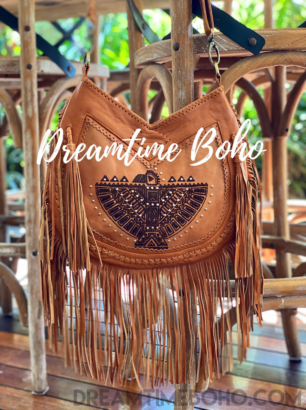 AZTEC EAGLE FRINGED LEATHER BOHO BAG-Boho Fringe Bag-Dreamtime Boho-Dreamtime Boho