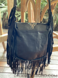 HAND TOOLED DEXI LEATHER FRINGED CROSSBODY BOHO BAG-Boho Fringe Bag-Dreamtime Boho-Black/Turquoise-Dreamtime Boho