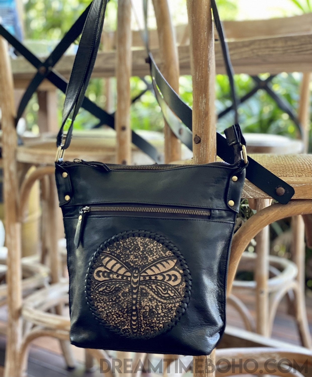 DRAGONFLY HAND TOOLED LEATHER CROSSBODY BOHO BAG-Leather Crossbody Bag-Dreamtime Boho-Dreamtime Boho