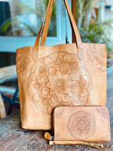Load image into Gallery viewer, ALIYAH HAND TOOLED MANDALA LEATHER TOTE SHOULDER BAG-Leather Tote Bag-Dreamtime Boho-Dreamtime Boho