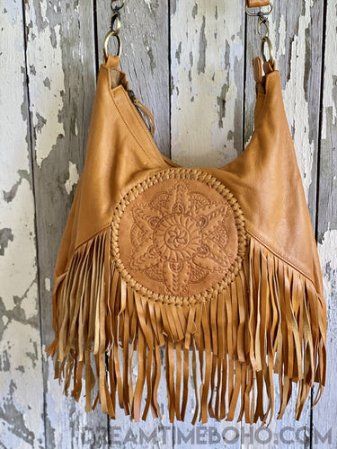 LEATHER CONVERTIBLE MANDALA BACKPACK/CROSSBODY FRINGED BOHO BAG-Backpack-Dreamtime Boho-Tan-Dreamtime Boho