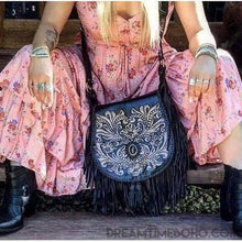 Load image into Gallery viewer, SHAYLEE HAND CARVED CROSSBODY FRINGED LEATHER BOHO BAG-Boho Fringe Bag-Dreamtime Boho -Black-Dreamtime Boho