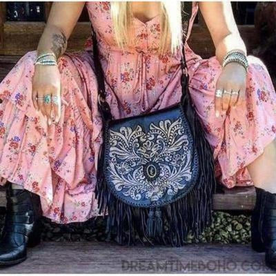 "Hand carved ""SHAYLEE"" Crossbody Leather Bag-Boho Fringe Bag-Dreamtime Boho -Dreamtime Boho"