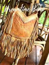 Load image into Gallery viewer, DREAMCATCHER LEATHER FRINGED CROSSBODY BOHO BAG-Leather Crossbody Bag-Dreamtime Boho-Dreamtime Boho