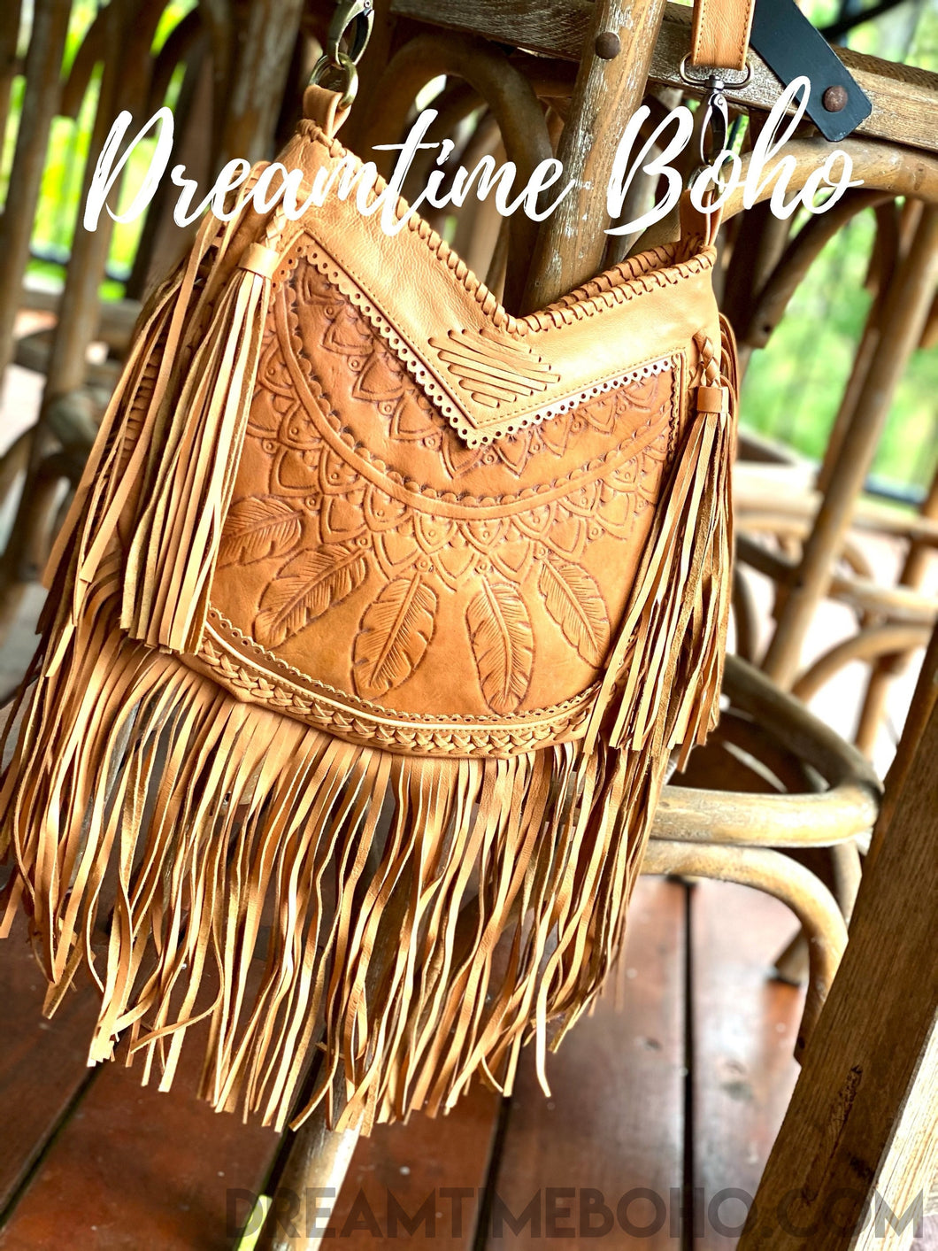 DREAMCATCHER LEATHER FRINGED CROSSBODY BOHO BAG-Leather Crossbody Bag-Dreamtime Boho-Dreamtime Boho
