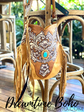 Load image into Gallery viewer, GODDESS HAND CARVED FRINGED LEATHER BOHO BAG-Crossbody Bag-Dreamtime Boho-Tan-Dreamtime Boho