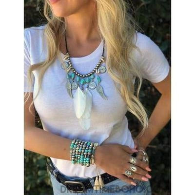 """FLY HIGH"" TURQUOISE & FEATHER NECKLACE-NECKLACE-Dreamtime Boho -Dreamtime Boho"