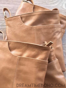LEATHER CROSS BODY BELLA BAG-Crossbody Bag-Dreamtime Boho-TAN-Dreamtime Boho