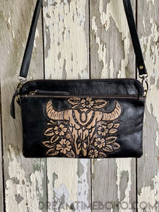 LEATHER BUFFALO CLUTCH PURSE CROSSBODY BOHO BAG-Clutch/Purse-Dreamtime Boho-BLACK-Dreamtime Boho