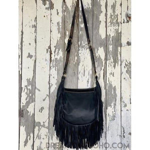 SHAYLEE HAND CARVED CROSSBODY FRINGED LEATHER BOHO BAG-Boho Fringe Bag-Dreamtime Boho -Black-Dreamtime Boho