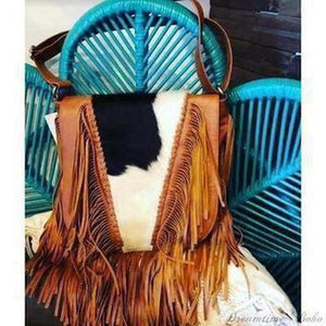 "LEATHER COWHIDE ""SHELBY"" CROSSBODY FRINGED BAG-Dreamtime Boho -Dreamtime Boho"