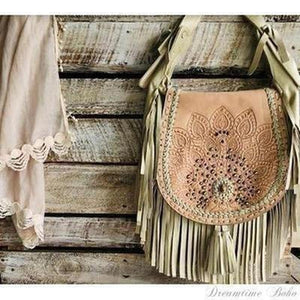 LEATHER FRINGED PEACOCK CROSSBODY BAG-Leather Crossbody Bag-Dreamtime Boho-IVORY-Dreamtime Boho