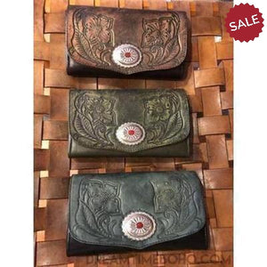CHIARA HAND TOOLED LEATHER BOHO WALLET PURSE-Leather Wallet-Dreamtime Boho-OLIVE-Dreamtime Boho